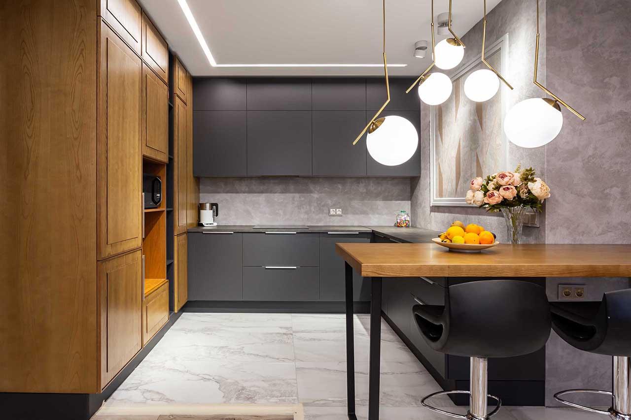 Красивая кухня в минимализме с барной стойкой